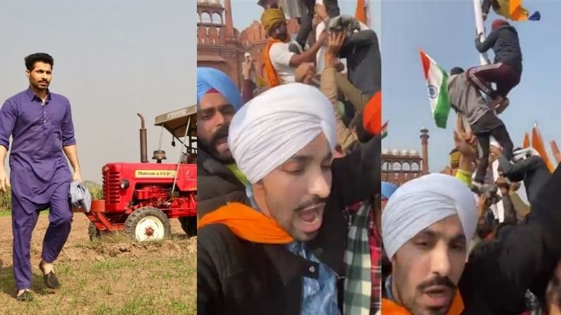 Who is Deep Sidhu waving the flag across the Red Fort