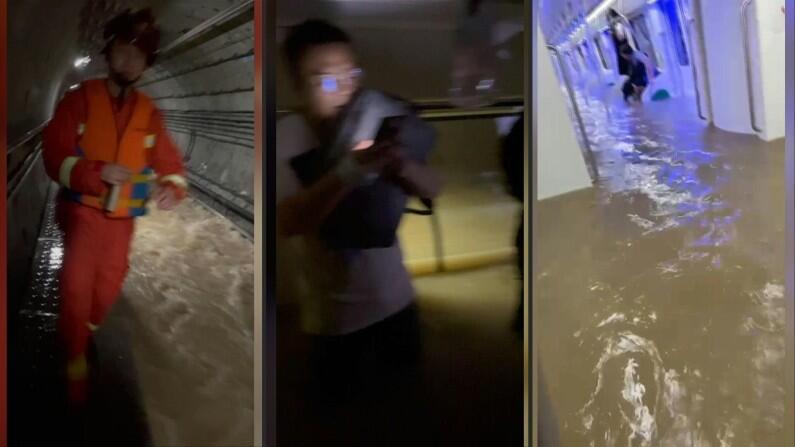 ચીનના હેનાન પ્રાંતમાં ભારે વરસાદને પગલે પૂરની સ્થિતી સર્જાઈ છે. જેને કારણે ઝેંગઝોઉ શહેરની અન્ડરગ્રાઉન્ડ મેટ્રો રેલ સિસ્ટમ પાણીમાં ડૂબી ગયેલી જોવા મળી. હાલ સોશિયલ મીડિયા પર કેટલીક તસવીરો વાયરલ થઈ રહી છે, જેમાં મેટ્રોમાં ટ્રાવેલ કરી રહેલા મુસાફરોના ગળા સુધી પાણી પહોંચેલુ જોવા મળી રહ્યુ છે.