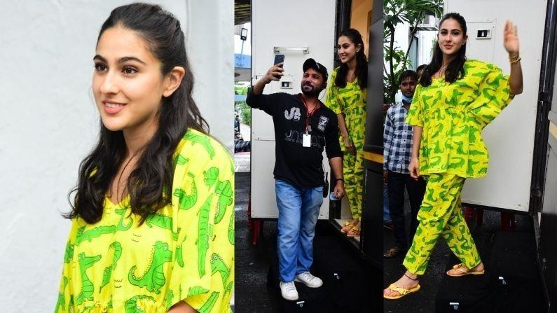 બોલીવુડની સુંદર અભિનેત્રી સારા અલી ખાન (Sara Ali Khan) આજે સવારે મુંબઈ એરપોર્ટ પર સ્પોટ થઈ હતી.  ત્યારબાદ તે  બપોરે શૂટિંગ કરતી જોવા મળી હતી.