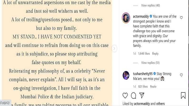 R Madhavan's comment on Shilpa Shetty's Post